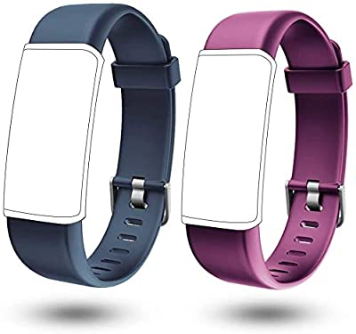 Lintelek Replacement Band for Fitness Tracker Band ID130PLUS HR and ID130Plus Color HR Smart Bracelet, Adjustable TPU Wristbands for Women Men (Purple+Grey)