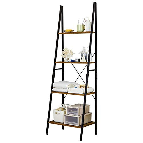 Linsy Home Ladder Shelf Bookcase,Industrial 4 Tier Bookshelf,Storage Rack Shelves for Bathroom, Living Room,Wood Look and Metal Frame,LS200P1-A