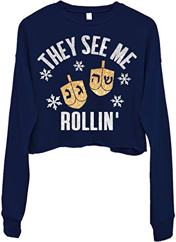 They See Me Rollin' Cropped Hanukkah Sweater for Women (Large) Navy Blue