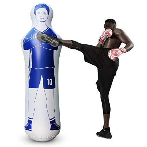 SUNSHINEMALL Inflatable Soccer Dummy Goalkeepr Air Mannequin Free Kick Defender Wall Football Practice Tumbler for Dribbling Wall Passing Drills