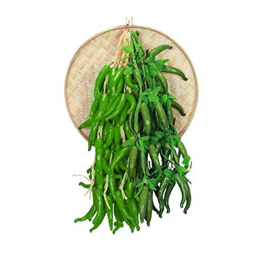 VOSAREA künstliches Gemüse gefälschte grüne Paprika Schnur Küche Restaurant Dekoration Ornament (grüner Pfeffer)