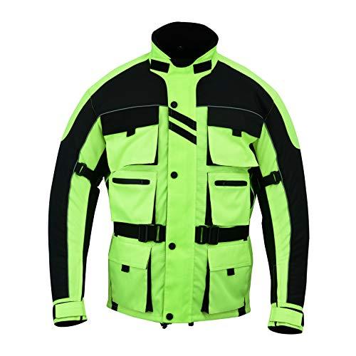 Warrior Gears® - Chaqueta de motocicleta con 6 bolsillos para hombre, diseño de guerrero, de alta visibilidad, con armadura CE   Chaquetas impermeables