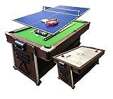 Simba Srl Biliardo 7 FT Carambola Verde + Air Hockey + Piano Ping Pong...