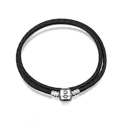 SOUKISS - Pulsera de Piel Negra con Cierre de Broche de Plata de Ley 925, para Colgantes