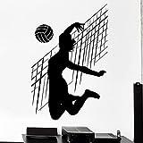 NSRJDSYT Etiqueta de la Pared de Voleibol Deporte Netball Mujer Fitness Vinilo Ventana calcomanía niñas Dormitorio Estadio decoración Interior Mural extraíble 42x63cm