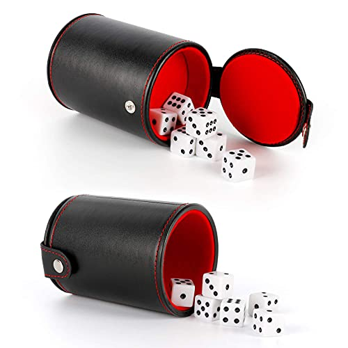 Bidear Leather Dice Cup with Storage Compartment - 6 Standard White Dice for Most Dice Game - Red Felt Lined, 1 Pack