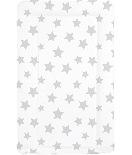 Cambiador de bebé, impermeable, unisex, con bordes elevados, blanco con estrellas grises