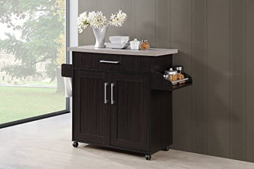 Hodedah Kitchen Cart with Spice Rack Plus Towel Holder A Chocolate product image