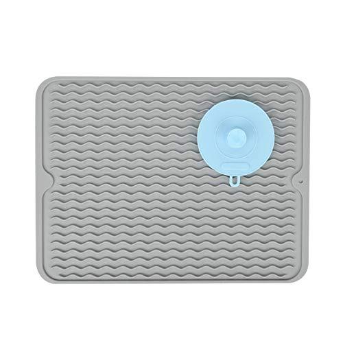 SUPER KITCHEN Gran alfombrilla de silicona para escurrir con un cepillo de limpieza multifuncional para la encimera, posavasos resistente al calor, alfombrilla para secar platos (gris, 40 x 30 cm)