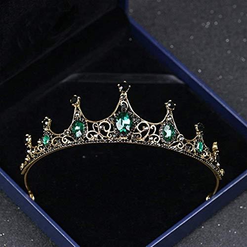 KEEBON Chapado en Oro Crystal Rhinestone Buceo de Pelo Princesa Docarated Tiara, Boda Crown Crown Crystal Rhinestone Joyería Boda Pulseras Pendientes Anillos Collares