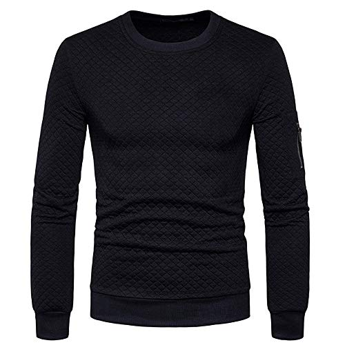 YJNH Mens Pullover Long Sleeve Slim Fit Lightweight Sweatshirt Outdoor Comfortable Sport Fitness Casual Daily Wear Streetwear Spring and Autumn New Comfortable Winter Bottoming Shirt XL Black