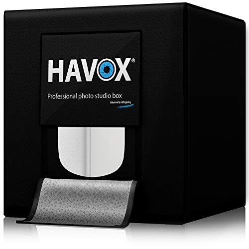 HAVOX - Foto Estudio HPB-80XD - Dimensión 80x80x80cm - Iluminación Regulable LED Luz de Día 5500k - 26,000 lúmenes - CRI 93 - CREA Tus Fotos comerciales para tu Comercio electrónico
