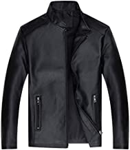 Autumn fashion leather jacket standing collar coat leisure biker jacket for men L