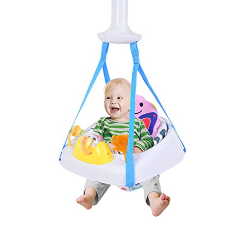 Sit-up Floor Seat - 2-in-1 Infant Activity Chair Doorway Jumper Swing Bumper Jumper Exerciser Set with Door Clamp Adjustable Strap,Baby Seat Jumping Chair Happy Hanging Basket (Multicolour)