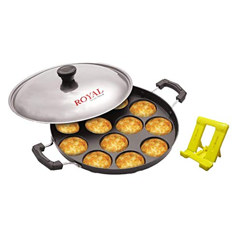 Royal Non-Stick 12 Cavity Appam Patra Red (Paniyarakkal with Lid)