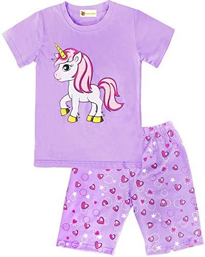 MOLYHUA Schlafanzug Mädchen Kurz Einhorn Schlafanzüge Baumwolle Nachtwäsche für Kinder Pyjama 92 98 104 110 116 122