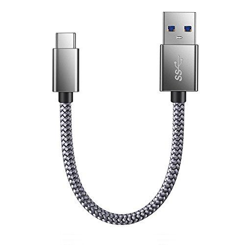 USB Type C ケーブル JR INTL USB C機器対応 USB 高耐久ナイロン編み タイプ C ケーブル 高速データ転送 Sony Xperia XZ/XZ2, Samsung Galaxy S9/S8, Macbook Pro, Nexus 5X/6P その他Android各種、USB-C機器対応【0.2m/グレー/保証付き】