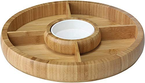 Bamboo Natural Chip and Dip Divided Bowl Serving Platter with Ceramic Center Bowl Dip Cup product image