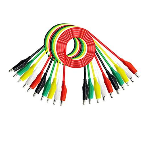 NaiCasy Cables de Prueba con Pinzas cocodrilo cocodrilo P1025 Doble Final de 50 cm de Alambre de Puente 10PCS Coloridas