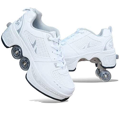BBGC 2 in 1 Rollschuhe Damen Verstellbar Rollschuhe Multifunktionale Deformation Schuhe 4 Räder im Freien Sportschuhe