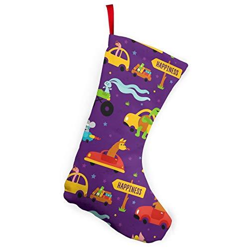 Paquete de 2 medias de Navidad de 25,4 cm con diseño de animales divertidos, juego de carreras personalizable, accesorio de fiesta para decoración de vacaciones, chimenea, patio o jardín