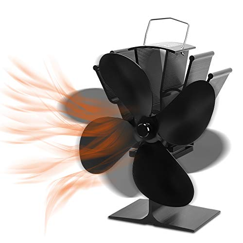 Ventilatore della stufa con 4 pale, ventola diseccitata per la protezione ambientale, aggiornamento del funzionamento silenzioso, ventola del camino a funzionamento termico, per stufe a legna