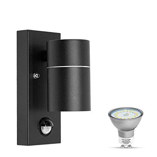 LED Aussenlampe mit Bewegungsmelder IP44 Wasserdicht GU10 Außenleuchte Schwarz matt 230V aussen Wandlampe inkl.1x 5W GU10 Warmweiß Glühbirne, 1 Stück