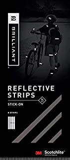 Brilliant Reflective Stick-on Reflector Tape for Biking: Adhesive Stick-on Strips for Clothing Made of 3M Scotchlite Reflective Safety Material - Washable and Waterproof - Pack of 10 Strips