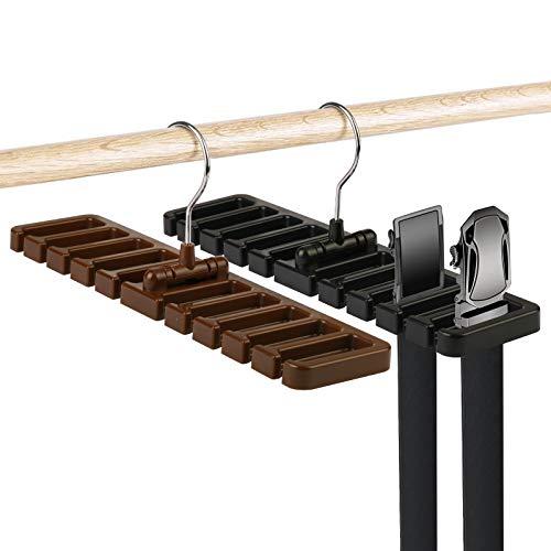 ZoomSky 2er Gürtelhalter Scarfs Belt Rack Organizer Kunststoff Krawattenhalter platzsparende Kleiderschrank Aufbewahrung für 20 Gürtel/Schals/Krawatte