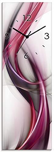 Artland Wanduhr ohne Tickgeräusche aus Glas Quarzuhr 20x60 cm Rechteckig Lautlos Design Welle Abstrakt Modern Ausgefallen S8UL