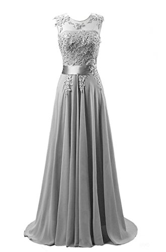 Kmformals Damen Chiffon Langes Party Ballkleid Abendkleid 40 Silber