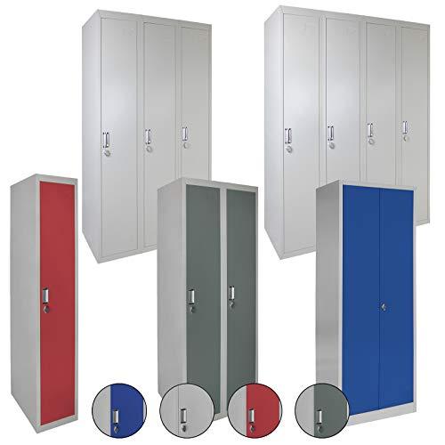 Spind Schließfachschrank Metallschrank Mehrzweckschrank Umkleideschrank Garderobenschrank ; Grau-Grau/Dreier-Spind