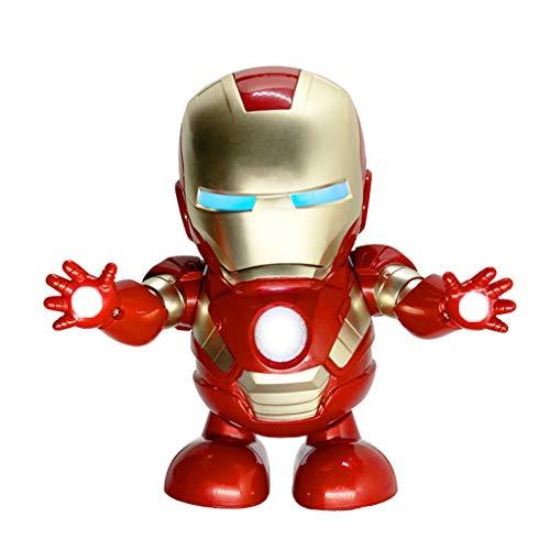 Cm&cl Actualización Dance Iron Man RC Robot Toy Dance The Avengers Linterna electrónica de Juguete con luz Sonido Música Avengers superhéroe Juguetes,Rojo
