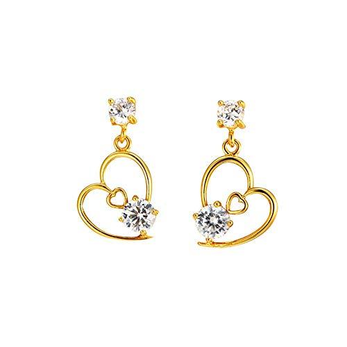 Pendientes simples chapados en oro de 24 k para mujer Pendientes de corazón de diamantes Conjunto de joyas Regalo para Navidad Día de San Valentín Cumpleaños (En Forma De Corazon)