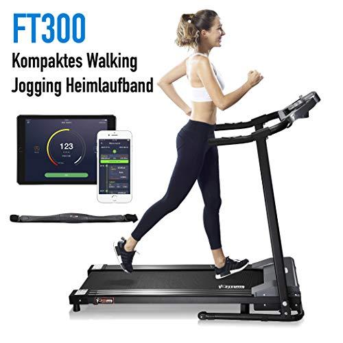 Fitifito FT300 Klasse Einsteiger Laufband mit Smartphone App Steuerung, hydraulisches Klappsystem zu einem super Preis! 1PS, 10kmh Optimal für Anfänger und Fortgeschrittene! Gehen Walken Joggen