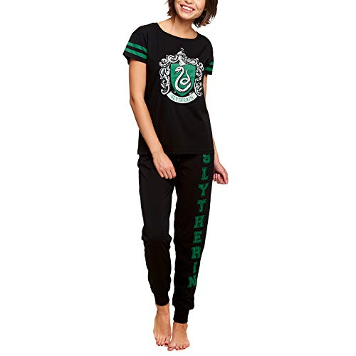 HARRY POTTER Pyjama Serpentard pour Femmes 2pcs Elven Forest Cotton Black - L