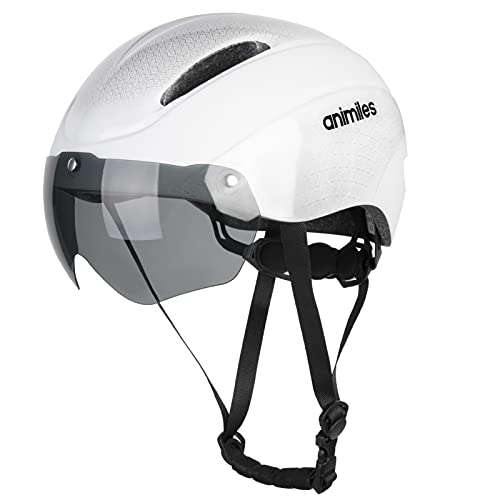 ANIMILES Bike Helmet, Bicycle Helmet with Removable Magnetic Goggles Visor, Adjustable Mountain & Road Cycling Helmet for Men/Women (White)