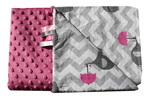 Manta para bebé con diseño de elefante, color rosa, 50 x 75 cm, muy suave y esponjosa, hecha a mano