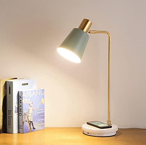 KaiLangDe Lámpara Escritorio LED con Carga Inalámbrica Wireless y USB Puerto de Lectura con 3 Modos y Control Táctil Regulable y Temporizador Bajo Consumo Control Remoto (Color : Green)