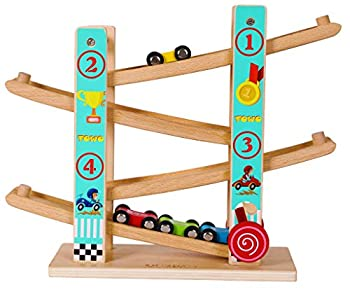 TOWO Pure Wooden Car Ramp - Zig Zag Car Slide Run with 4 Wooden Cars Playsets-Click Clack Track Wooden Car Toys for Toddlers -Racing Car Toys for Kids Boys Girls 2 3 4