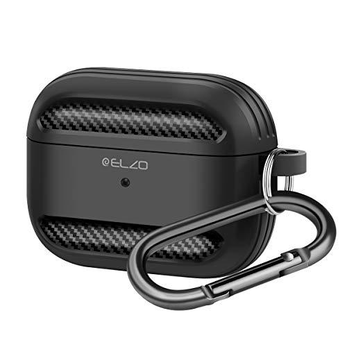 ELZO Funda de Silicona líquida para Airpods Pro a Prueba de Golpes Funda Protectora Resistente a los arañazos Funda Protectora para Auriculares con mosquetón Compatible con Apple AirPods Pro - Negro