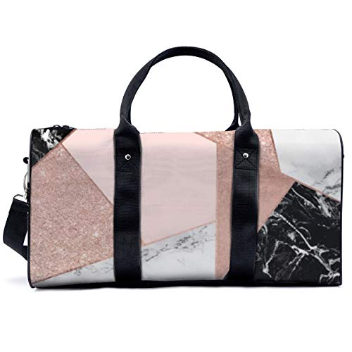 Sac de sport ou de sport - Or rose - Paillettes - Noir et blanc - Marbre géométrique - Sac de yoga - Sac fourre-tout - Sac fourre-tout de voyage - Pour adultes et femmes