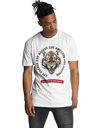 Criminal Damage Battle Tee T-Shirt, Bianco (White White), Large Uomo