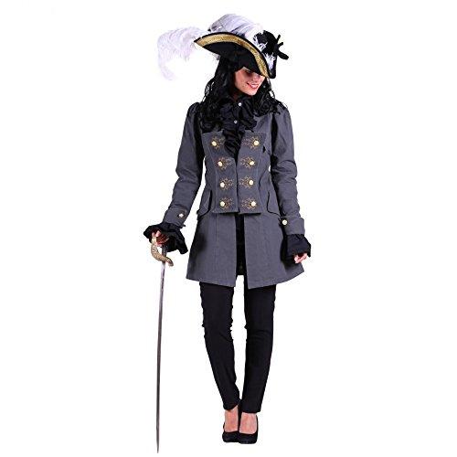 Damen Mantel grau Historische Kostüme Piratin Adlige Militär Karneval (S)