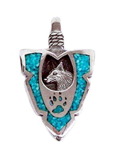 Indianerschmuck Kettenanhänger aus Sterling Silber - Turquoise Wolf, klein