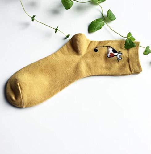 RTESBGH Novelty Sokken, Geel Een Nieuwe Zachte Comfy Happy Sokken Mooie Cartoon Vier Seizoenen Katoenen Sokken Soxs Creatieve Deodorant Sweat Absorberen Sportsokken (3ps)