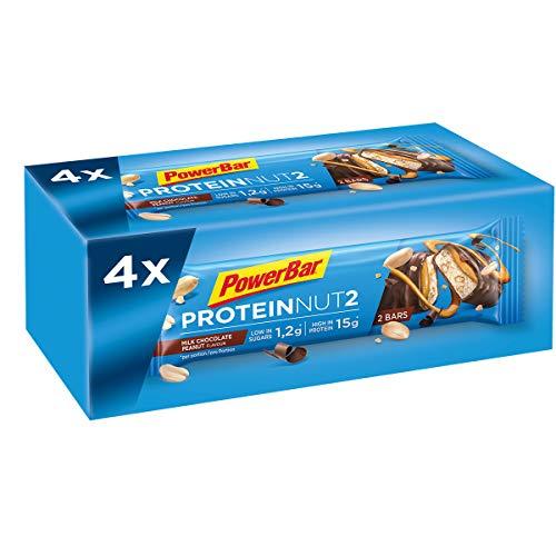 Powerbar Protein Riegel ProteinNut2 Eiweiß-Riegel (Kohlenhydratreduziert, kaum Zucker) Milk Chocolate Peanut, 4 x 45g
