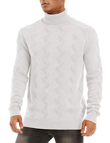 MAGCOMSEN Mens Sweater White Cotton Sweaters for Men Long Sleeve Warm Fall Winter Sweater Midweight Pullovers Lambswool Sweater for Men