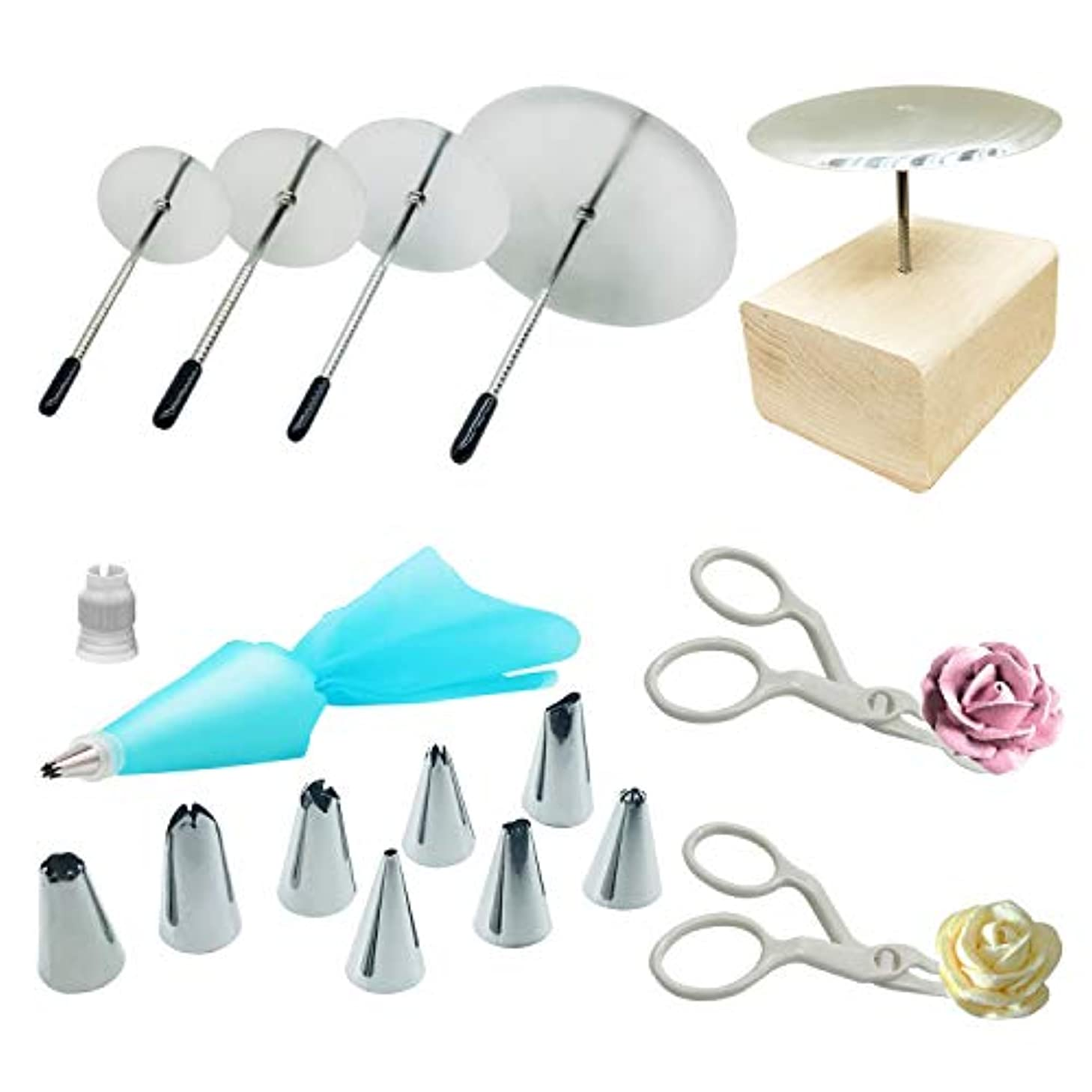 17 PCS Cake Decorating Supplies, Woohome 1 Set Cake Decorating Tips Combo, 4 PCS Cake Flower Nail, 2 PCS Flower Lifters, 1 PCS Wood Flower Nails Holder for Cake Cupcake Icing Flowers Decoration