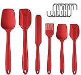 Ouddy Spatola Silicone Cucina Set 6pcs Cucina Utensili in Silicone Resistente al Calore e Antiaderente Pennello Gomma Raschietto Spatole Cucchiaio Dolci Cucinare Cottura,6 Ganci a Forma S